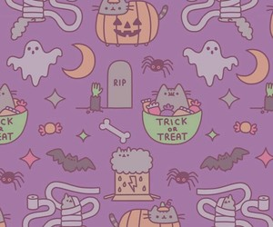 wallpaper, Halloween, and pusheen image