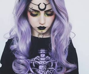 goth, gothic, and purple hair image