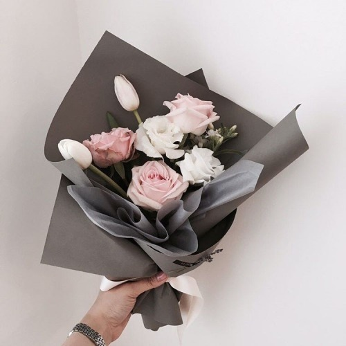 flowers, pink, and grey image