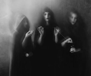 witch, black and white, and dark image