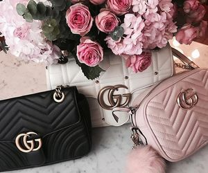 bag, beautiful, and flowers image
