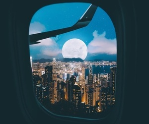 moon, city, and lights image