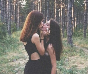 girls, forest, and lesbian image