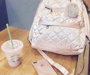 bag, frappucino, and iphone image