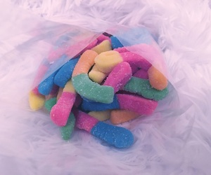 candy, gummy worms, and worms image