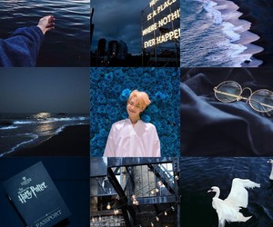 aesthetic, rapmonster, and blue image
