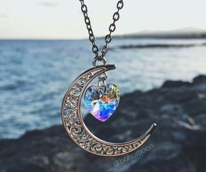 moon, necklace, and art image