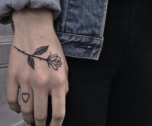 flowers, hand, and heart image