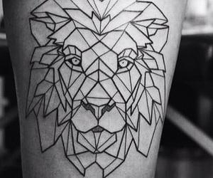 lion, black, and geometric image