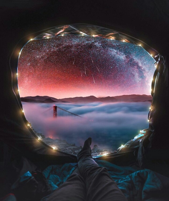 lights, stars, and sky image