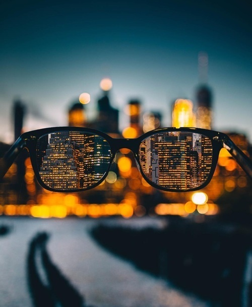 city, glasses, and lights image