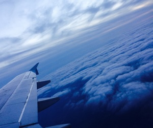 clouds, air, and airplane image