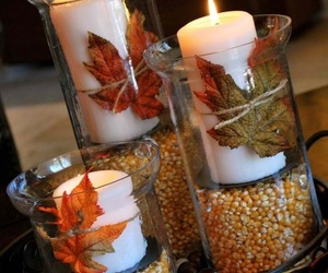 candles, autumn, and leaves image