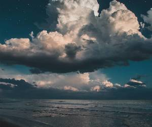 clouds, blue, and sea image