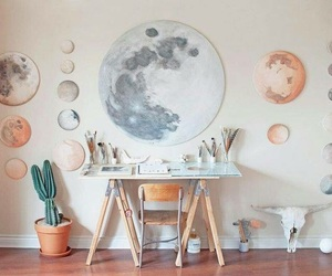 moon, art, and room image
