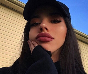 girl, makeup, and lips image