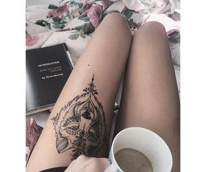 wolf, tattoo, and thigh image