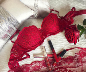 lingerie, makeup, and red image