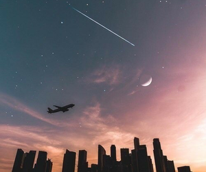 sky, city, and moon image