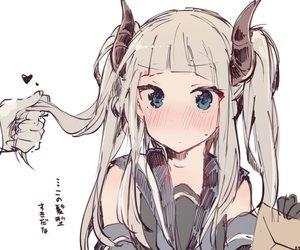 anime, horns, and loli image