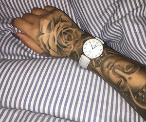 tattoo, hand tattoo, and rose tattoo image