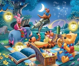 disney, night, and winnie the pooh image