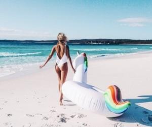 summer, unicorn, and beach image
