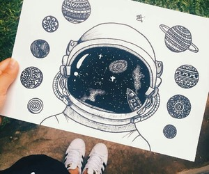 drawing, planet, and astronauts image