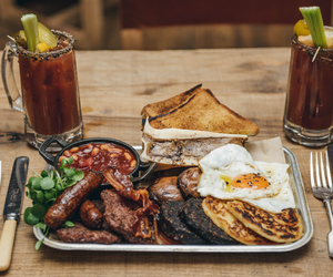 alcohol, bacon, and baked beans image