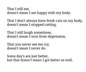 depression, quote, and sad image