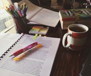study, coffee, and book image
