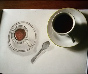 art, breakfast, and coffee image