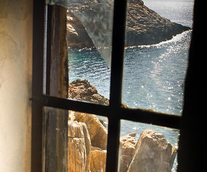 window, sea, and ocean image