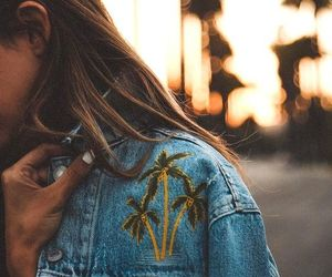 jacket, girl, and palm trees image
