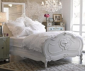 bedroom, white, and bed image