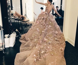 lily collins, dress, and flowers image