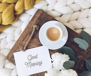 coffee, flowers, and good morning image