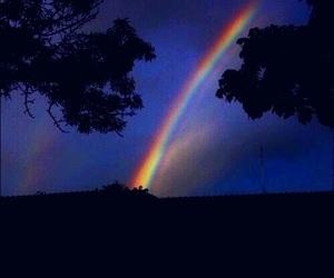 rainbow, night, and sky image