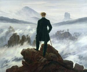 cliff, fog, and man image