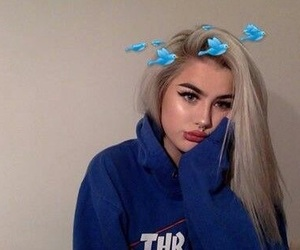 girl, tumblr, and blue image