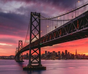 sunset, bridge, and travel image