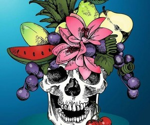 skull, art, and colors image