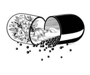 art, pills, and draw image