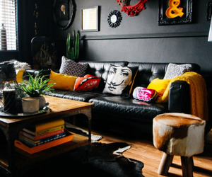 home decor, living room, and dark walls image