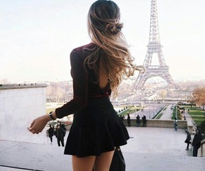 blonde, skirt, and the eiffel tower image