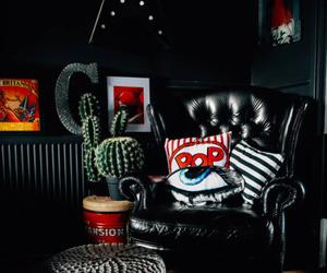 colorful decor, home decor, and dark walls image