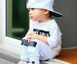 baby, white, and black image