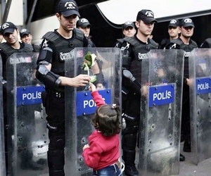 police, flowers, and peace image