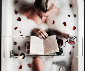 book, bath, and rose image