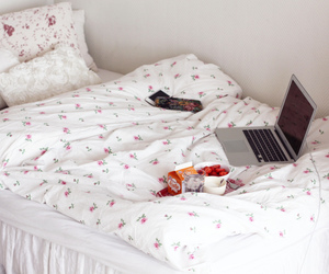 bed, white, and food image